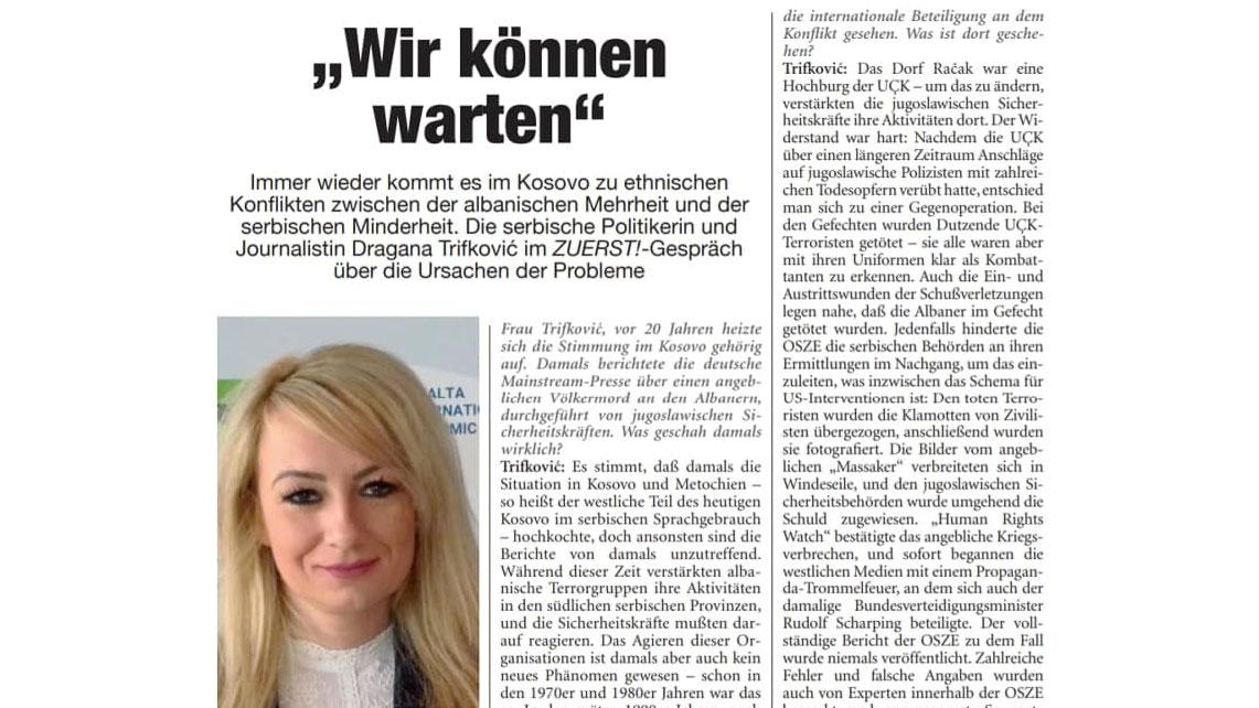 """Dragana Trifković za nemački """"ZUERST"""": Možemo čekati"""