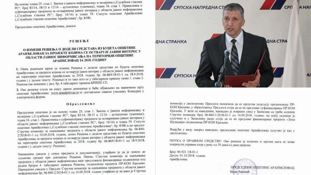 "Aranđelovac: Predsednik opštine pokušaj pljačke budžeta nazvao ""tehničkom greškom"""