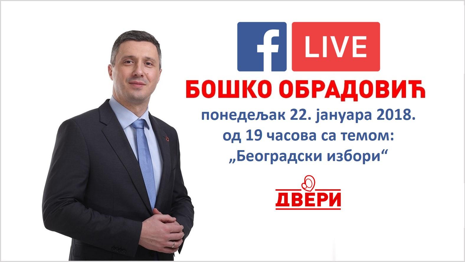 """Boško Obradović uživo na FB Dveri u ponedeljak 22. januara od 19č, tema """"Koalicija sa Dosta je bilo"""""""