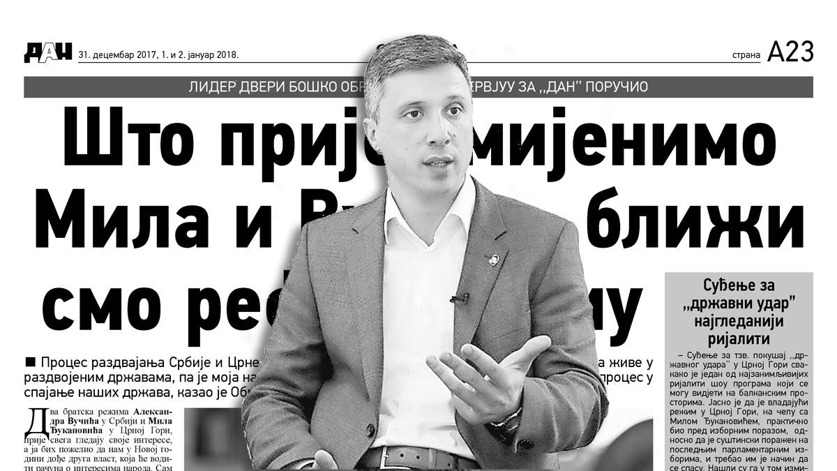 """Boško Obradović za """"Dan"""": Što prije smijenimo Mila i Vučića, bliži smo referendumu"""
