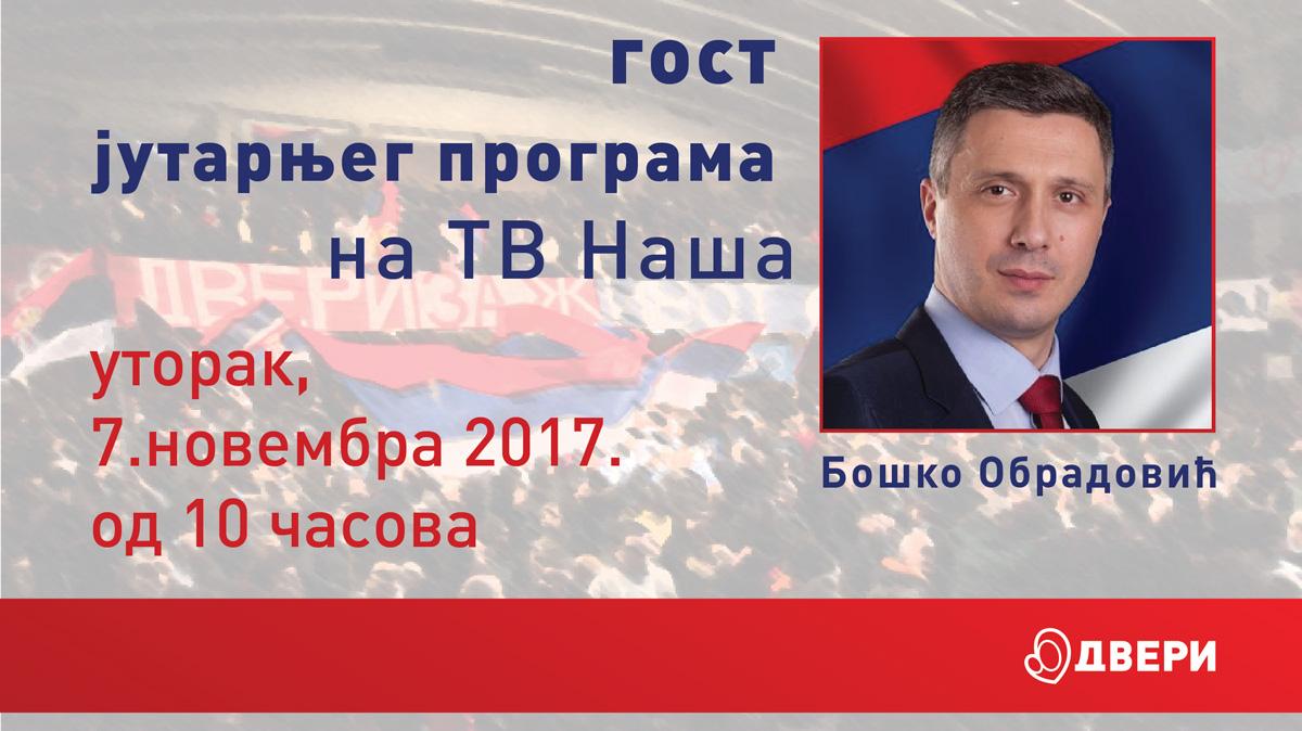 Boško Obradović, TV Naša, utorak od 10č