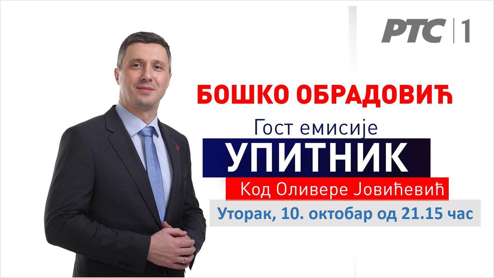 Boško Obradović u Upitniku, utorak, 10. oktobar. od 21,15č, RTS1
