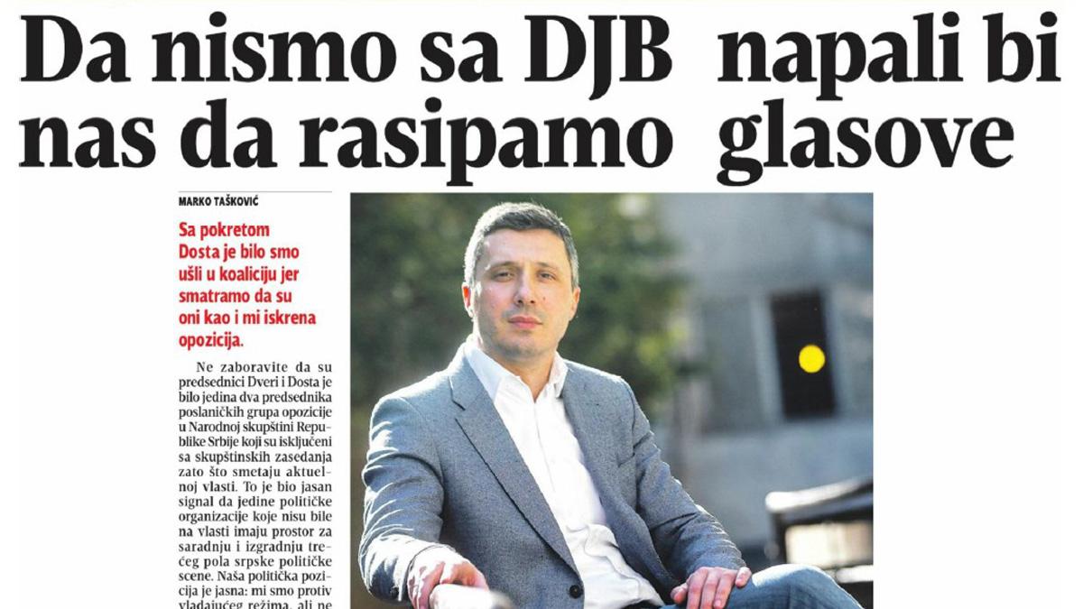 Boško Obradović za Blic: Da nismo sa 'Dosta je bilo' napali bi nas da rasipamo glasove