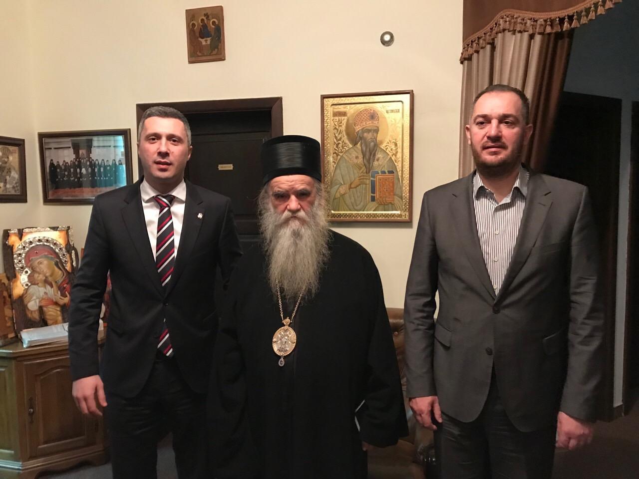 Susret Obradovića sa Mitropolitom Amfilohijem na Cetinju