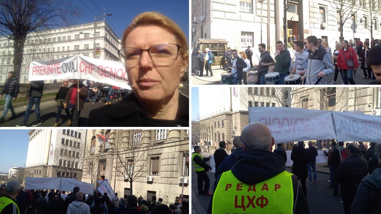 Marija Janjušević na protestu zaduženih u švajcarcima