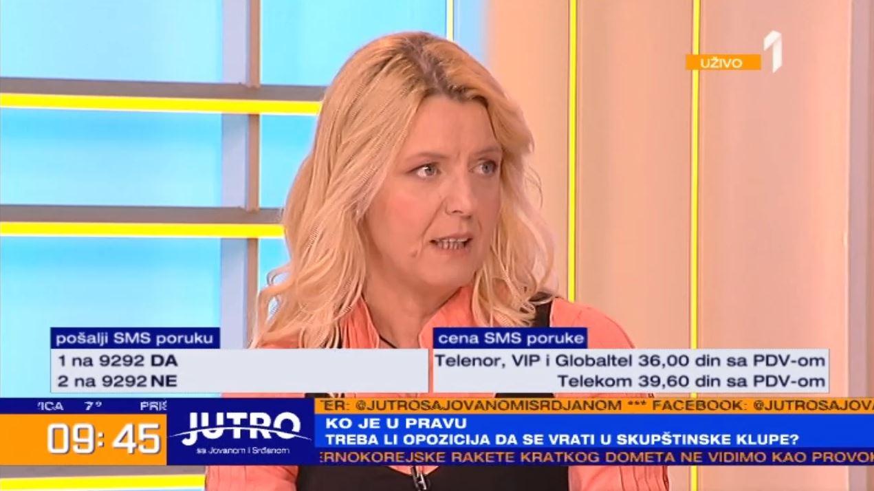 Marija Janjušević na TV Prva: Građani ne žele da se opozicija vrati u parlament