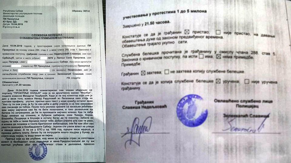 Nastavljaju se pretnje članovima Dveri i učesnicima protesta 1 od 5 miliona
