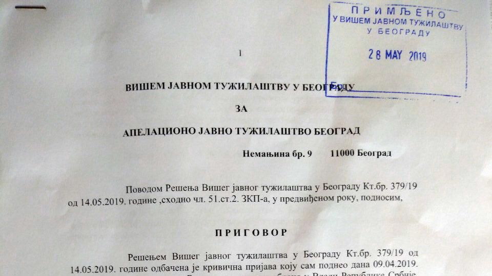 Dveri podnele prigovor na odbijanje tužilaštva da pokrene postupak protiv Vulina