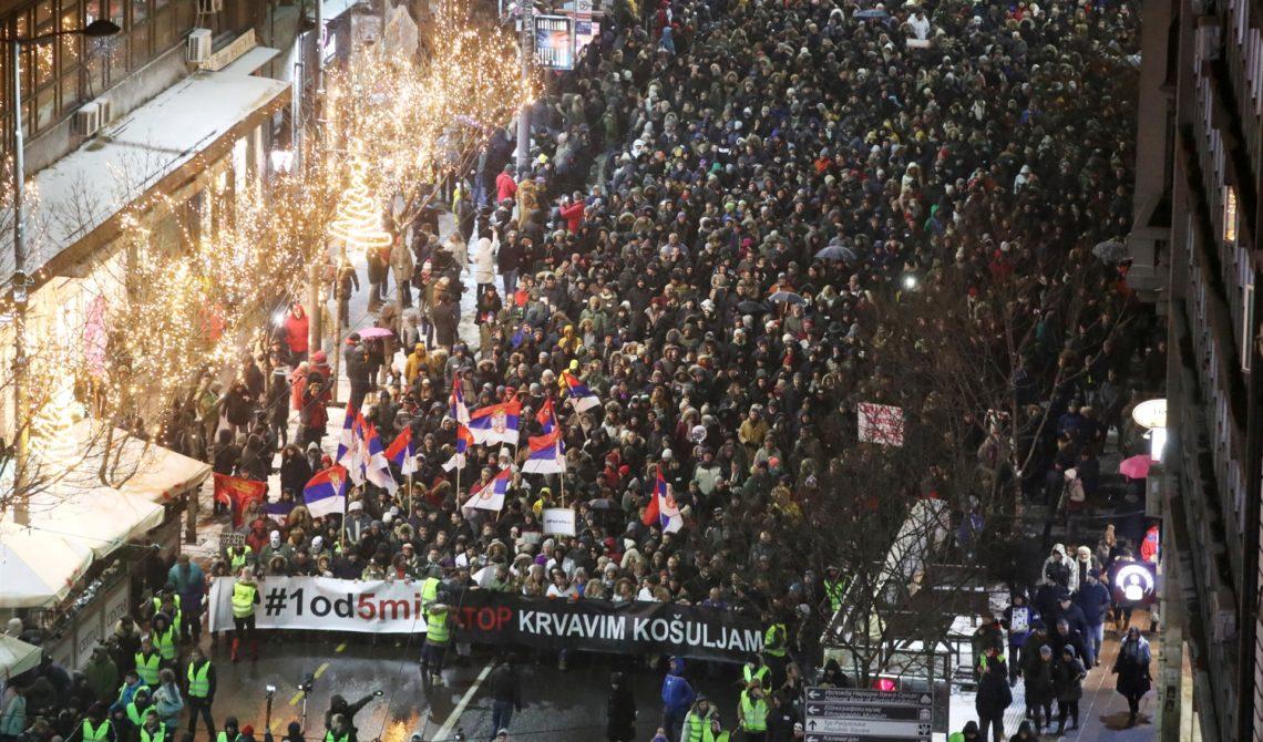 """Održan peti protest """"Jedan od pet miliona"""" – Ovo nije politika, već potreba da se živi u zemlji u kojoj vladaju znanje i rad"""