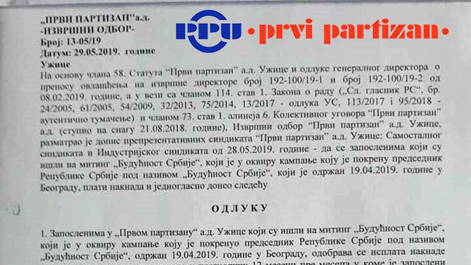 """""""Prvi partizan"""" nezakonito isplaćuje naknade radnicima za učešće na mitingu Aleksandra Vučića"""