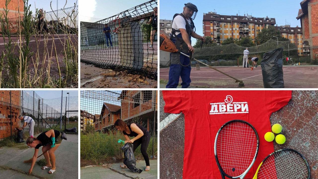 Članovi Dveri u Šapcu očistili teniski teren i organizuju besplatne treninge