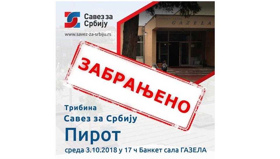 Savez za Srbiju: Održaćemo skup u Pirotu i pored pritisaka i otkazivanja sale