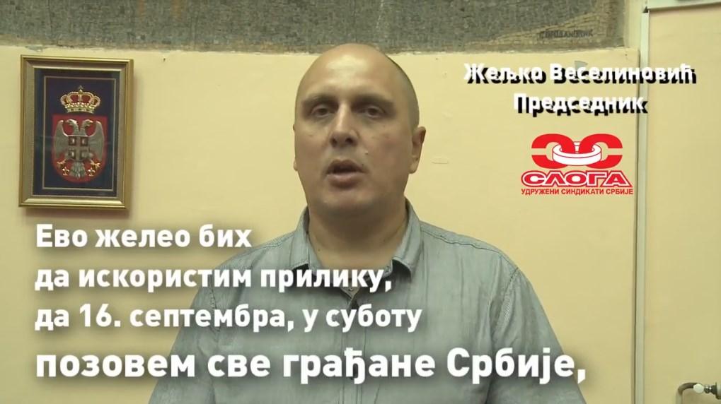 Željko Veselinović: Pozivam sve nezadovoljne radnike na protest 16. septembra