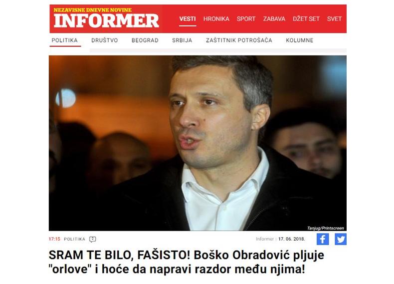 Двери: Информер по четврти пут кажњен због лажи о Бошку Обрадовићу и Дверима